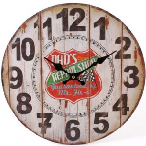 Dad's Repair Shop 31122 - Large Rustic Retro Kitchen Wall Clock 34cm